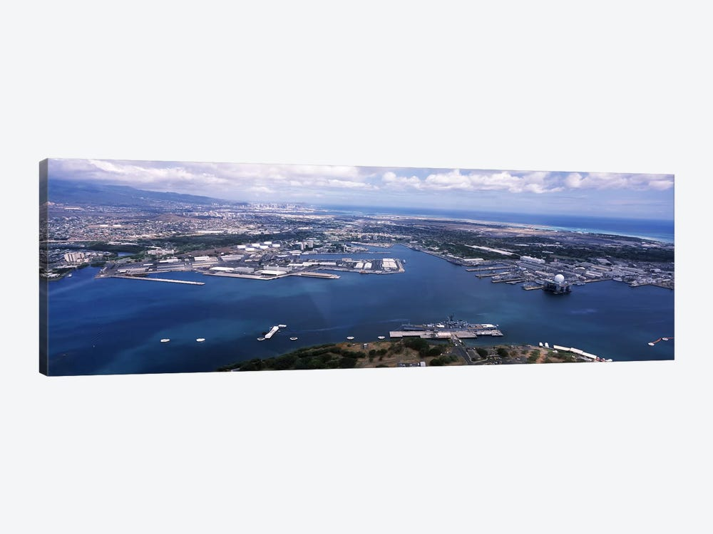 Aerial view of a harbor, Pearl Harbor, Honolulu, Oahu, Hawaii, USA 1-piece Canvas Art