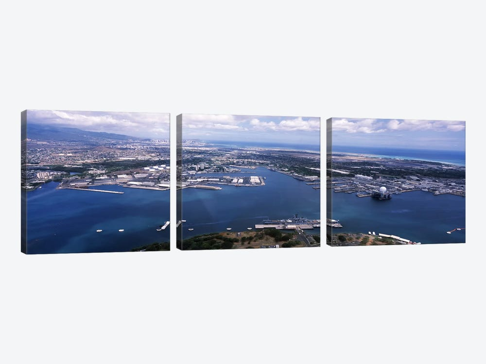 Aerial view of a harbor, Pearl Harbor, Honolulu, Oahu, Hawaii, USA by Panoramic Images 3-piece Canvas Art
