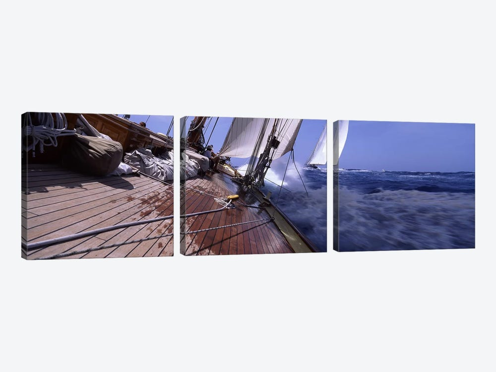 First Person Point Of View During A Yacht Race by Panoramic Images 3-piece Canvas Art Print