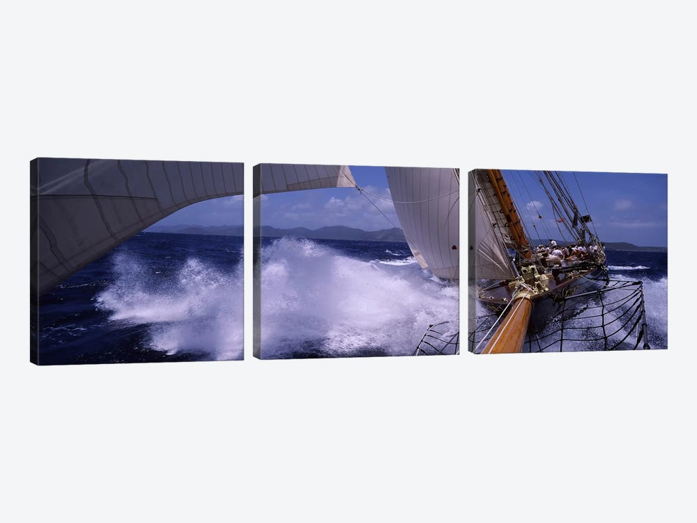 A Yacht Pounding Through The Sea by Panoramic Images 3-piece Art Print