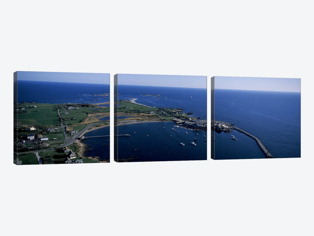Aerial View Of Sakonnet Harbor, Little Compton, Newport County, Rhode Island, USA by Panoramic Images 3-piece Art Print