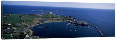 Aerial View Of Sakonnet Harbor, Little Compton, Newport County, Rhode Island, USA Canvas Art Print