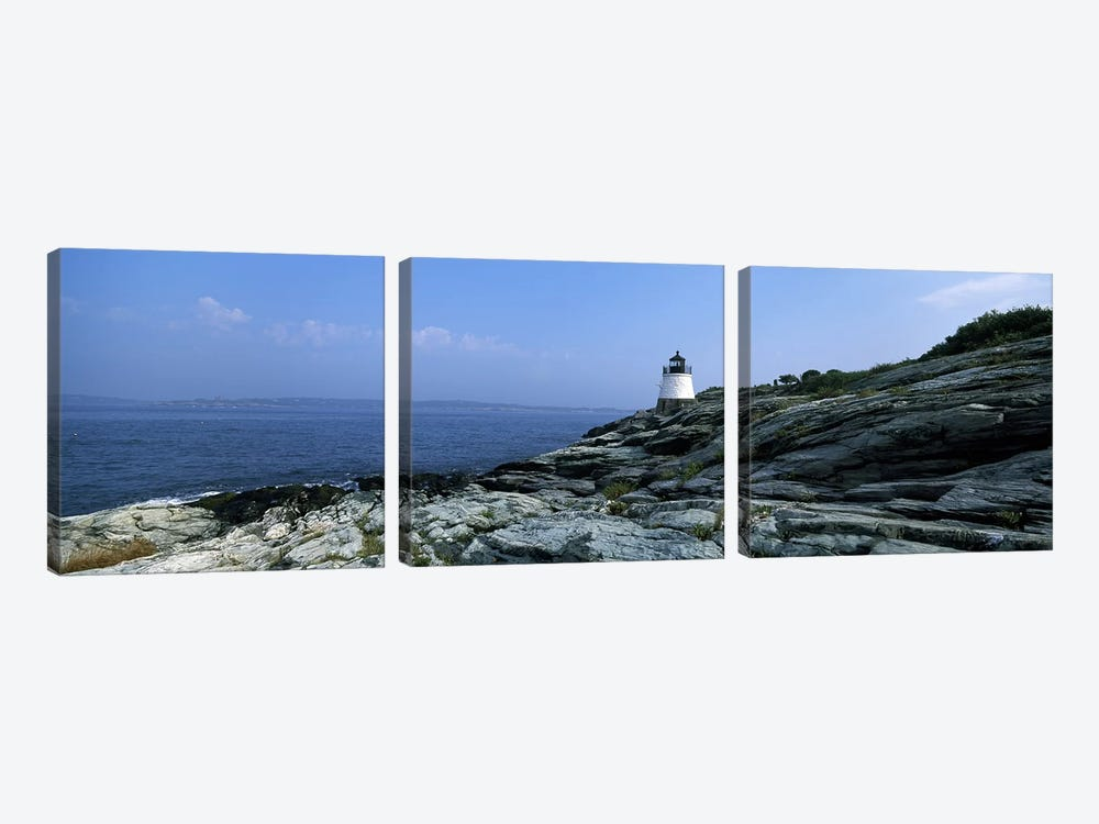 Castle Hill Lighthouse, Narragansett Bay, Newport, Rhode Island, USA by Panoramic Images 3-piece Canvas Print