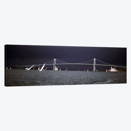 Stormy Seascape, Claiborne Pell Newport Bridge, Narragansett Bay, Newport, Rhode Island USA Canvas Print #PIM6862} by Panoramic Images Canvas Artwork