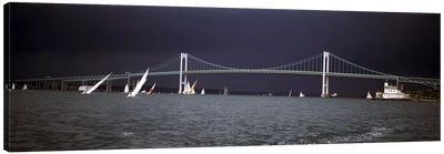 Stormy Seascape, Claiborne Pell Newport Bridge, Narragansett Bay, Newport, Rhode Island USA Canvas Print #PIM6862