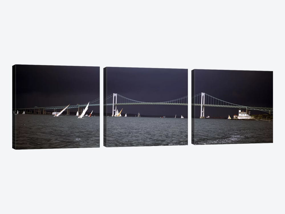 Stormy Seascape, Claiborne Pell Newport Bridge, Narragansett Bay, Newport, Rhode Island USA by Panoramic Images 3-piece Canvas Print