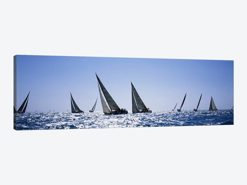 Sailboats racing in the sea, Farr 40's race during Key West Race Week, Key West Florida, 2000 by Panoramic Images 1-piece Canvas Art