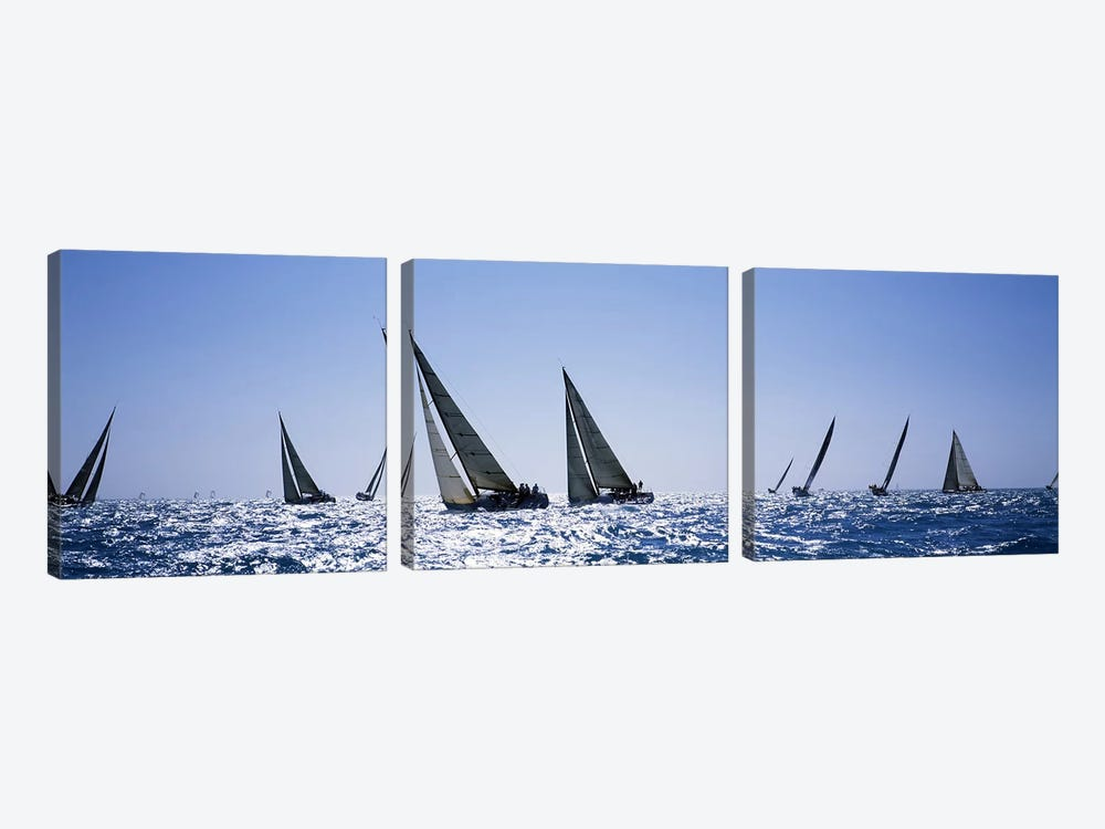 Sailboats racing in the sea, Farr 40's race during Key West Race Week, Key West Florida, 2000 by Panoramic Images 3-piece Canvas Artwork