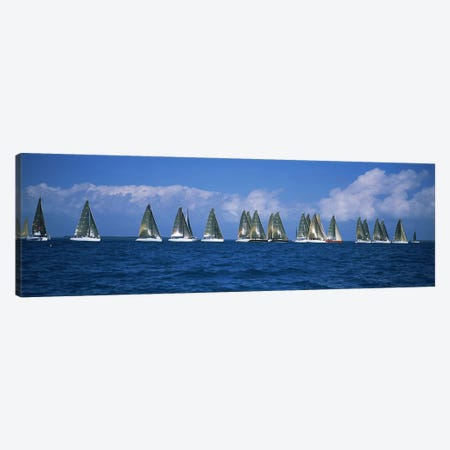 Sailboats racing in the sea, Farr 40's race during Key West Race Week, Key West Florida, 2000 #2 Canvas Print #PIM6868} by Panoramic Images Canvas Art
