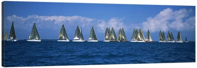 Sailboats racing in the sea, Farr 40's race during Key West Race Week, Key West Florida, 2000 #2 Canvas Print #PIM6868