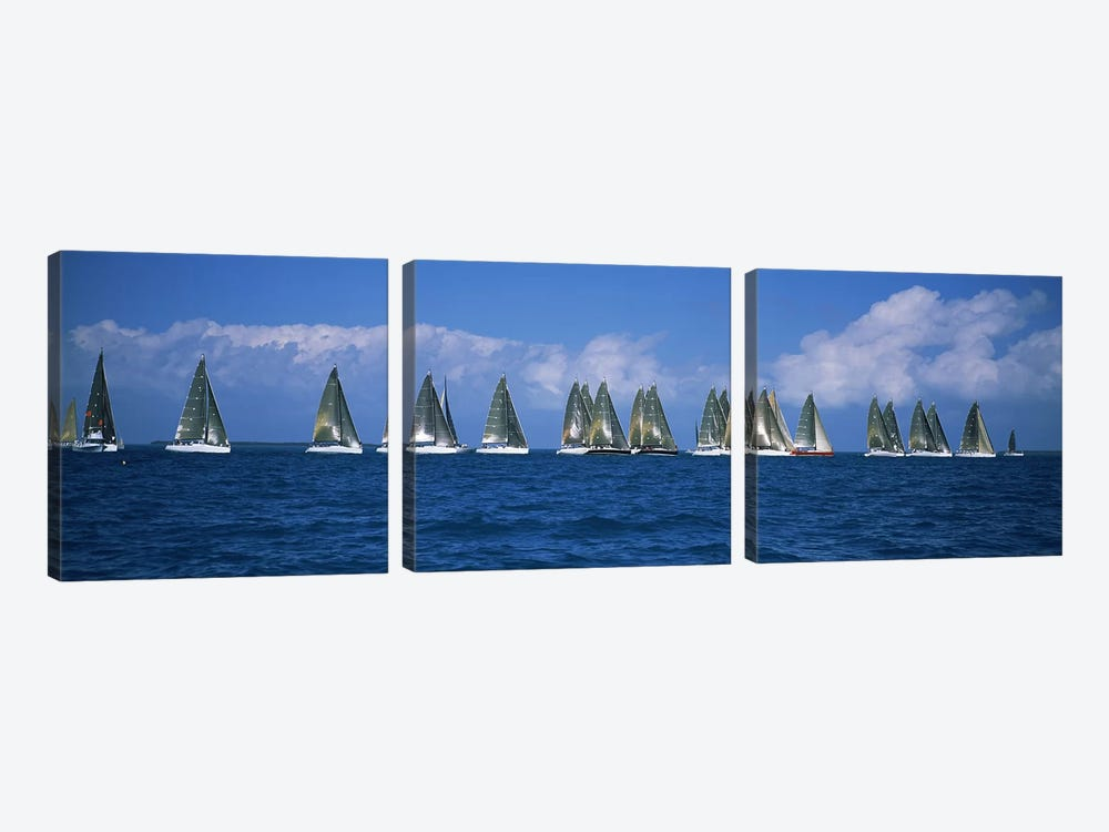 Sailboats racing in the sea, Farr 40's race during Key West Race Week, Key West Florida, 2000 #2 by Panoramic Images 3-piece Canvas Print