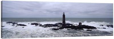 Lighthouse on the coast, Graves Light, Boston Harbor, Massachusetts, USA Canvas Art Print