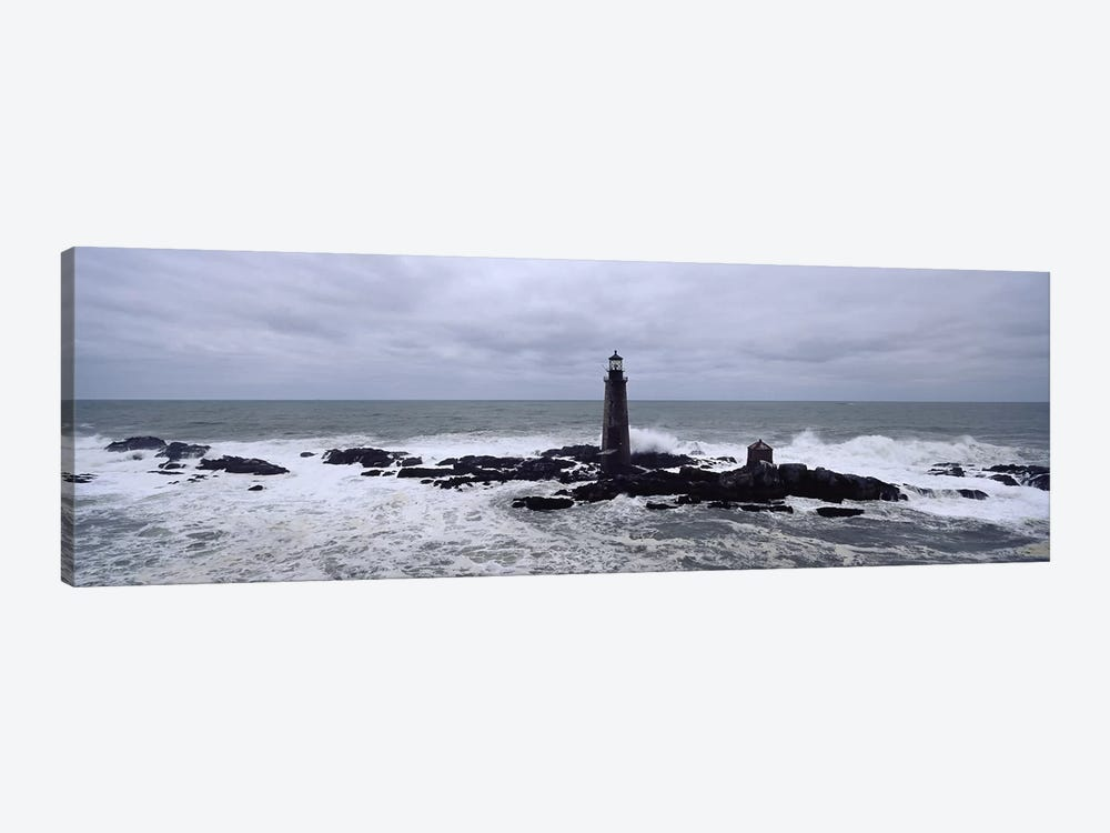 Lighthouse on the coast, Graves Light, Boston Harbor, Massachusetts, USA by Panoramic Images 1-piece Canvas Art