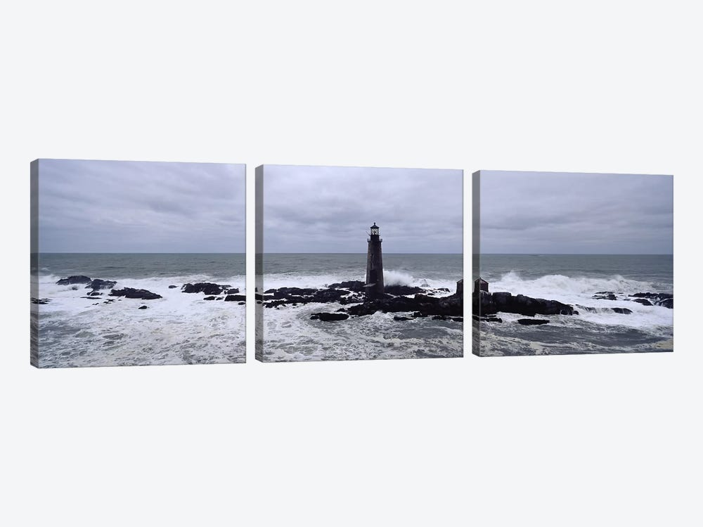 Lighthouse on the coast, Graves Light, Boston Harbor, Massachusetts, USA by Panoramic Images 3-piece Canvas Art