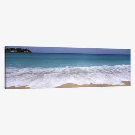 Bubbling Surf On A Beach, Antigua and Barbuda Canvas Print #PIM6874} by Panoramic Images Canvas Artwork