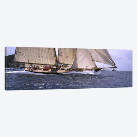A Schooner Pounding Through The Sea Canvas Print #PIM6877} by Panoramic Images Canvas Art