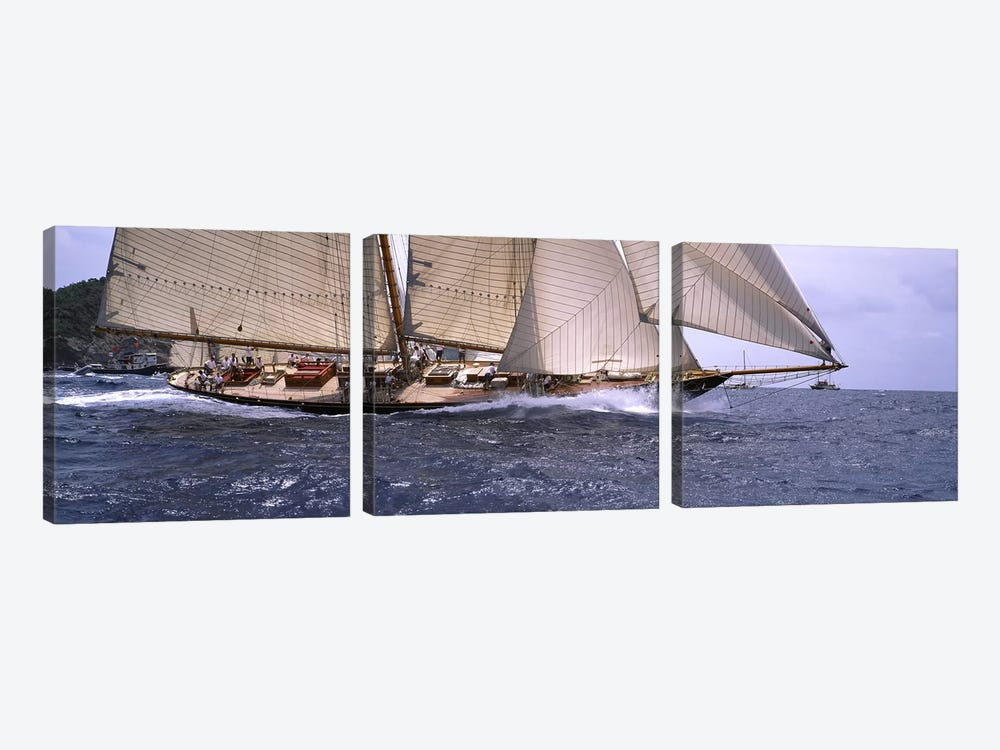 A Schooner Pounding Through The Sea by Panoramic Images 3-piece Art Print