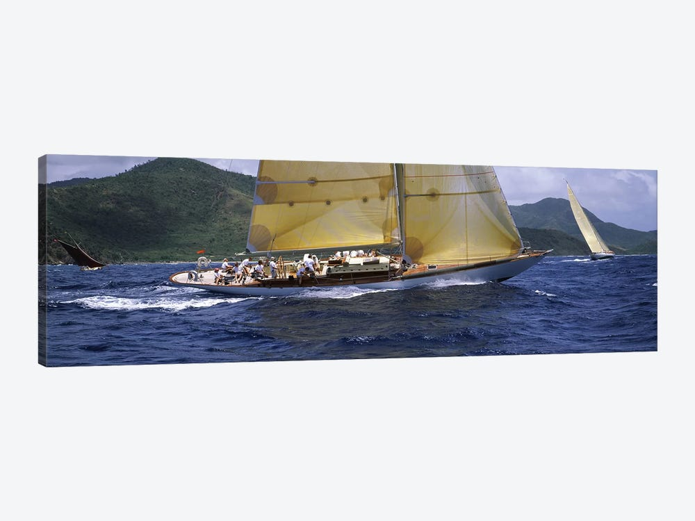Yacht racing in the sea, Antigua, Antigua and Barbuda by Panoramic Images 1-piece Canvas Wall Art