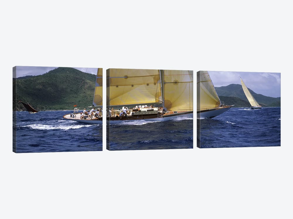 Yacht racing in the sea, Antigua, Antigua and Barbuda by Panoramic Images 3-piece Canvas Wall Art