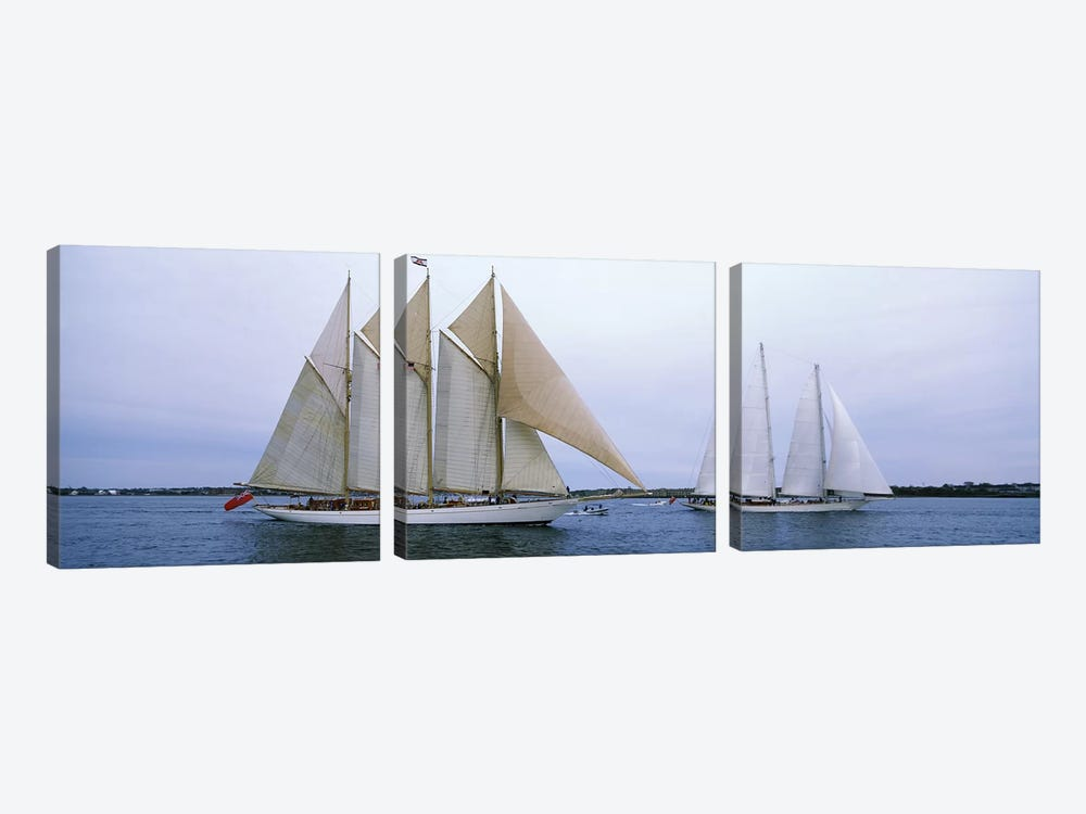 Schooners Under Way, Narragansett Bay, Newport, Rhode Island, USA by Panoramic Images 3-piece Art Print