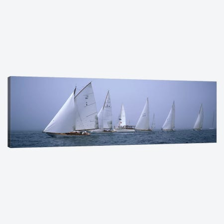 Yachts racing in the ocean, Annual Museum Of Yachting Classic Yacht Regatta, Newport, Newport County, Rhode Island, USA Canvas Print #PIM6883} by Panoramic Images Canvas Art