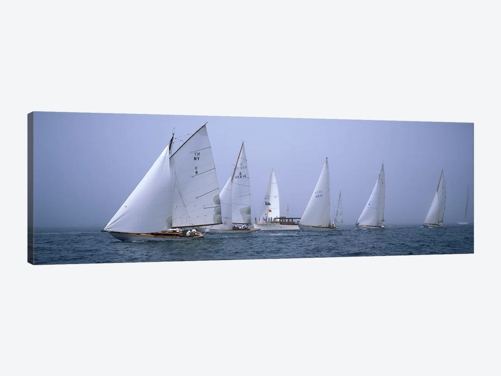 Yachts racing in the ocean, Annual Museum Of Yachting Classic Yacht Regatta, Newport, Newport County, Rhode Island, USA by Panoramic Images 1-piece Canvas Artwork