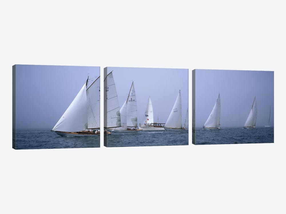 Yachts racing in the ocean, Annual Museum Of Yachting Classic Yacht Regatta, Newport, Newport County, Rhode Island, USA by Panoramic Images 3-piece Canvas Artwork