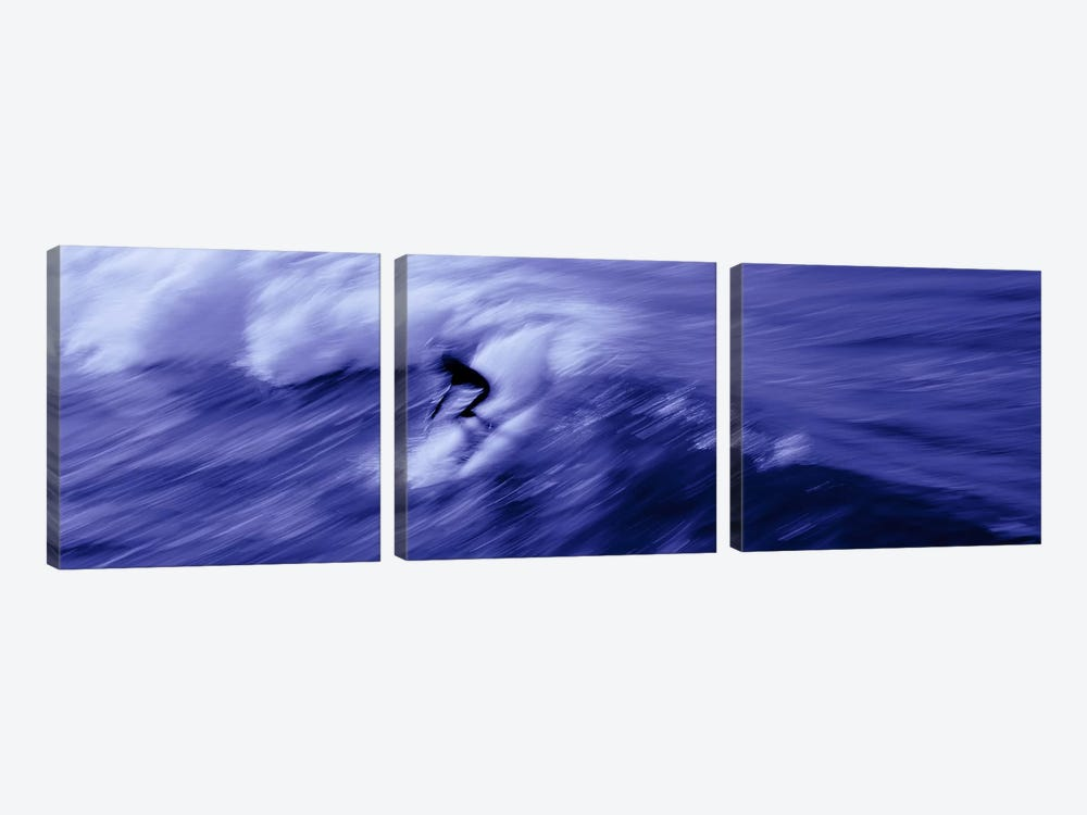 High angle view of a person surfing in the sea, USA 3-piece Canvas Art