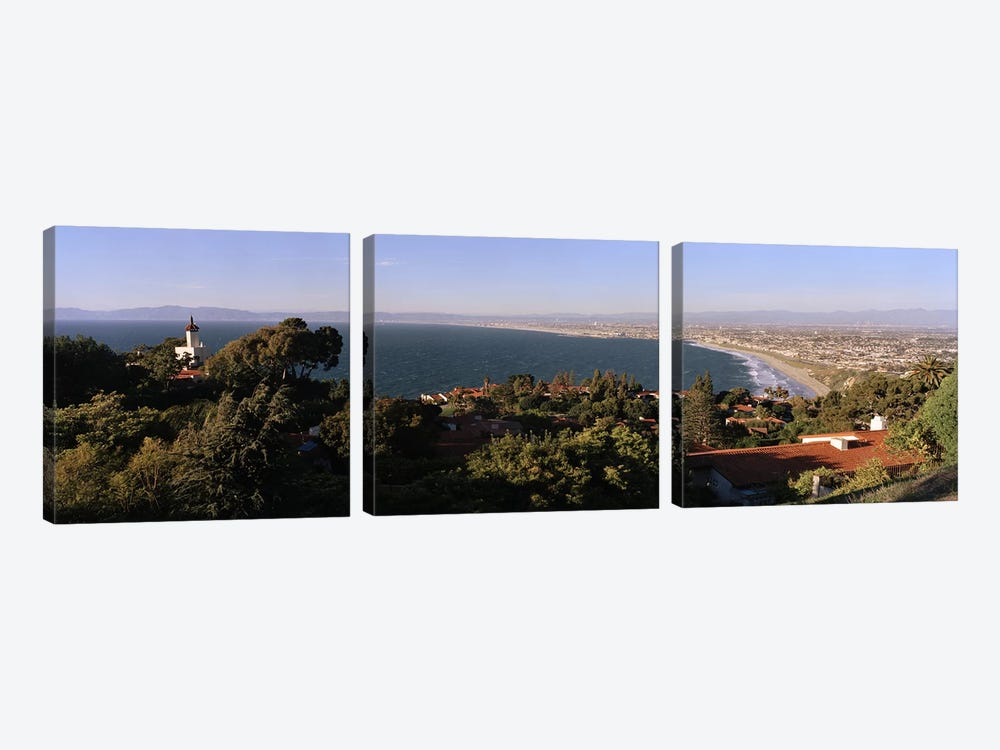 Aerial view of a coastline, Los Angeles Basin, City of Los Angeles, Los Angeles County, California, USA by Panoramic Images 3-piece Canvas Print