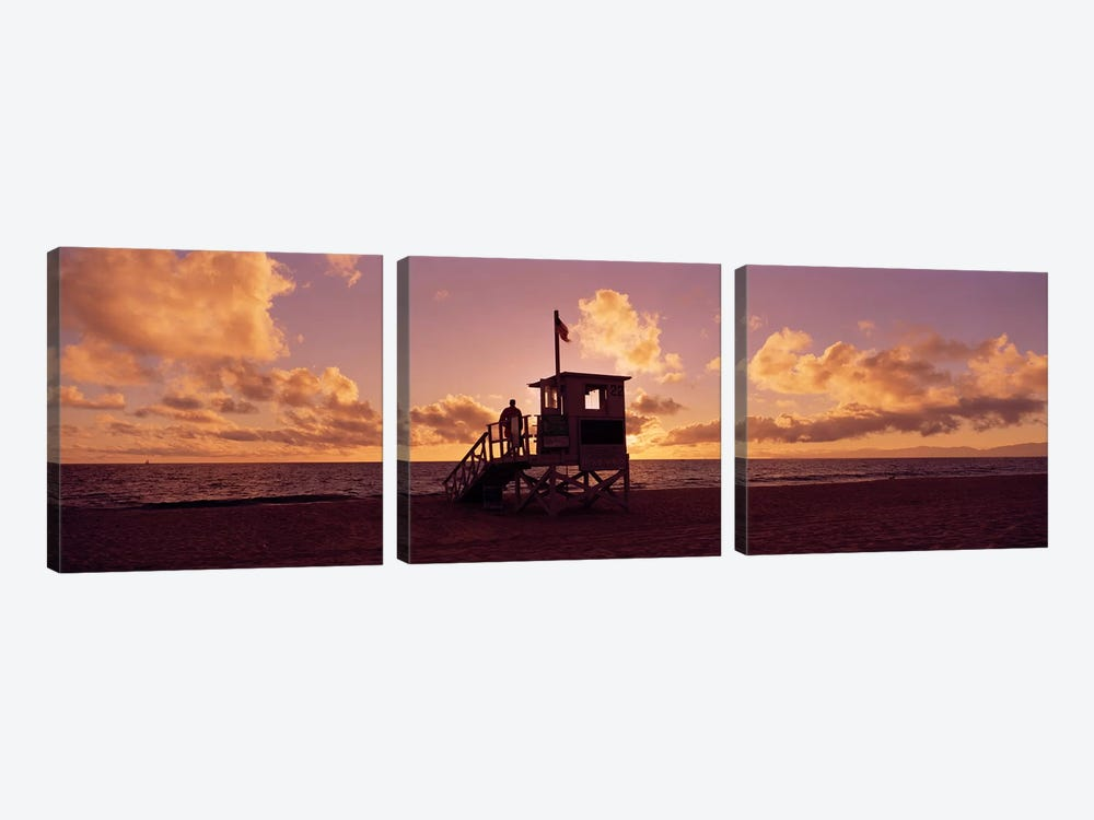 Lifeguard hut on the beach, 22nd St. Lifeguard Station, Redondo Beach, Los Angeles County, California, USA by Panoramic Images 3-piece Canvas Artwork