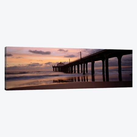 Low angle view of a hut on a pier, Manhattan Beach Pier, Manhattan Beach, Los Angeles County, California, USA Canvas Print #PIM6889} by Panoramic Images Canvas Wall Art