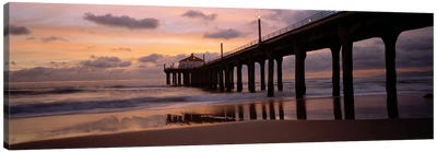 Low angle view of a hut on a pier, Manhattan Beach Pier, Manhattan Beach, Los Angeles County, California, USA Canvas Print #PIM6889