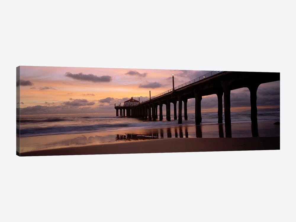 Low angle view of a hut on a pier, Manhattan Beach Pier, Manhattan Beach, Los Angeles County, California, USA by Panoramic Images 1-piece Canvas Artwork