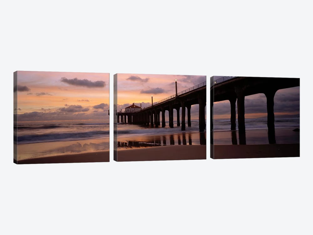 Low angle view of a hut on a pier, Manhattan Beach Pier, Manhattan Beach, Los Angeles County, California, USA by Panoramic Images 3-piece Canvas Wall Art