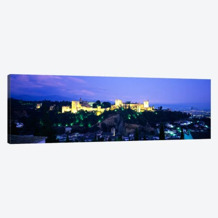 An Illuminated Alhambra At Night, Granada, Andalusia, Spain Canvas Print #PIM688} by Panoramic Images Canvas Artwork