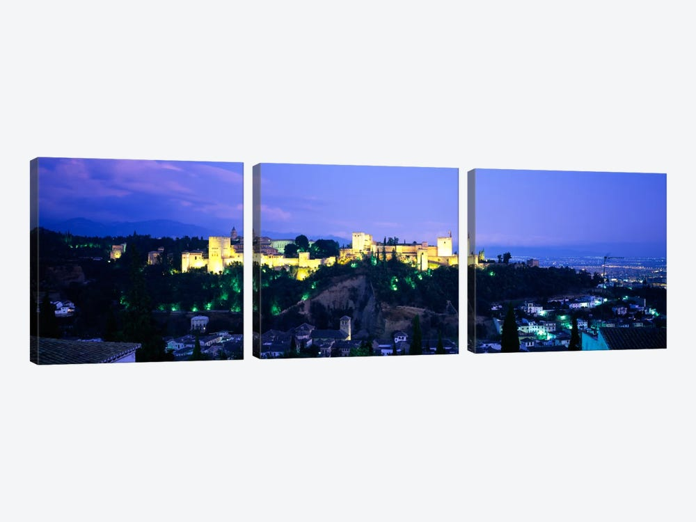 An Illuminated Alhambra At Night, Granada, Andalusia, Spain by Panoramic Images 3-piece Canvas Art
