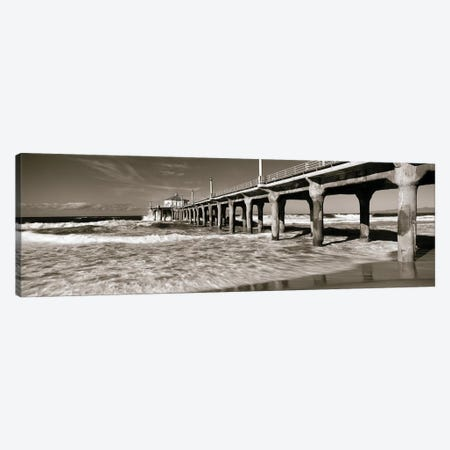 Low angle view of a pier, Manhattan Beach Pier, Manhattan Beach, Los Angeles County, California, USA Canvas Print #PIM6890} by Panoramic Images Art Print