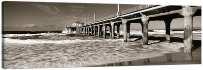 Low angle view of a pier, Manhattan Beach Pier, Manhattan Beach, Los Angeles County, California, USA Canvas Art Print
