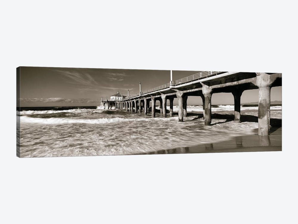 Low angle view of a pier, Manhattan Beach Pier, Manhattan Beach, Los Angeles County, California, USA by Panoramic Images 1-piece Canvas Wall Art