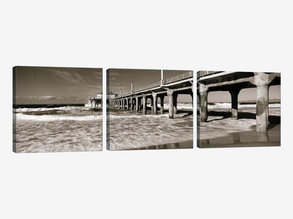 Low angle view of a pier, Manhattan Beach Pier, Manhattan Beach, Los Angeles County, California, USA by Panoramic Images 3-piece Canvas Artwork