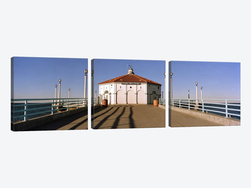 Building on a pier, Manhattan Beach Pier, Manhattan Beach, Los Angeles County, California, USA by Panoramic Images 3-piece Canvas Artwork