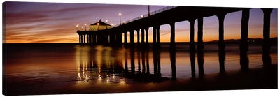 Low angle view of a pier, Manhattan Beach Pier, Manhattan Beach, Los Angeles County, California, USA #2 Canvas Art Print