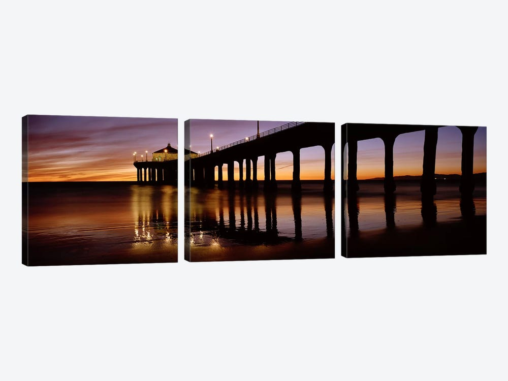 Low angle view of a pier, Manhattan Beach Pier, Manhattan Beach, Los Angeles County, California, USA #2 by Panoramic Images 3-piece Art Print