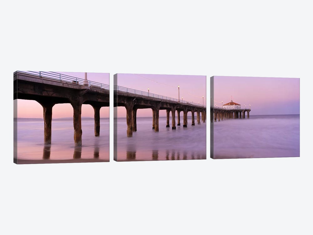 Low angle view of a pier, Manhattan Beach Pier, Manhattan Beach, Los Angeles County, California, USA #3 by Panoramic Images 3-piece Canvas Artwork