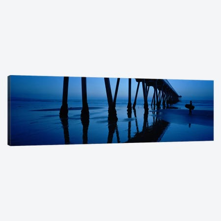 Hermosa Beach Pier At Dusk, Hermosa Beach, Los Angeles County, California, USA Canvas Print #PIM6896} by Panoramic Images Canvas Wall Art