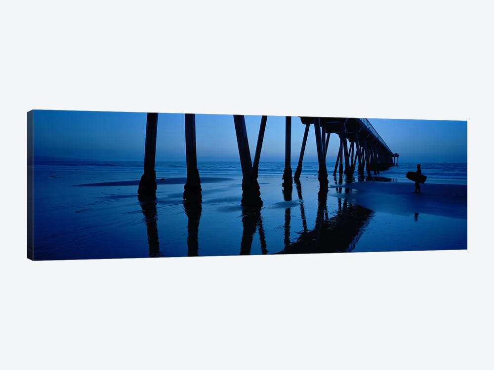 Hermosa Beach Pier At Dusk, Hermosa Beach, Los Angeles County, California, USA by Panoramic Images 1-piece Canvas Wall Art