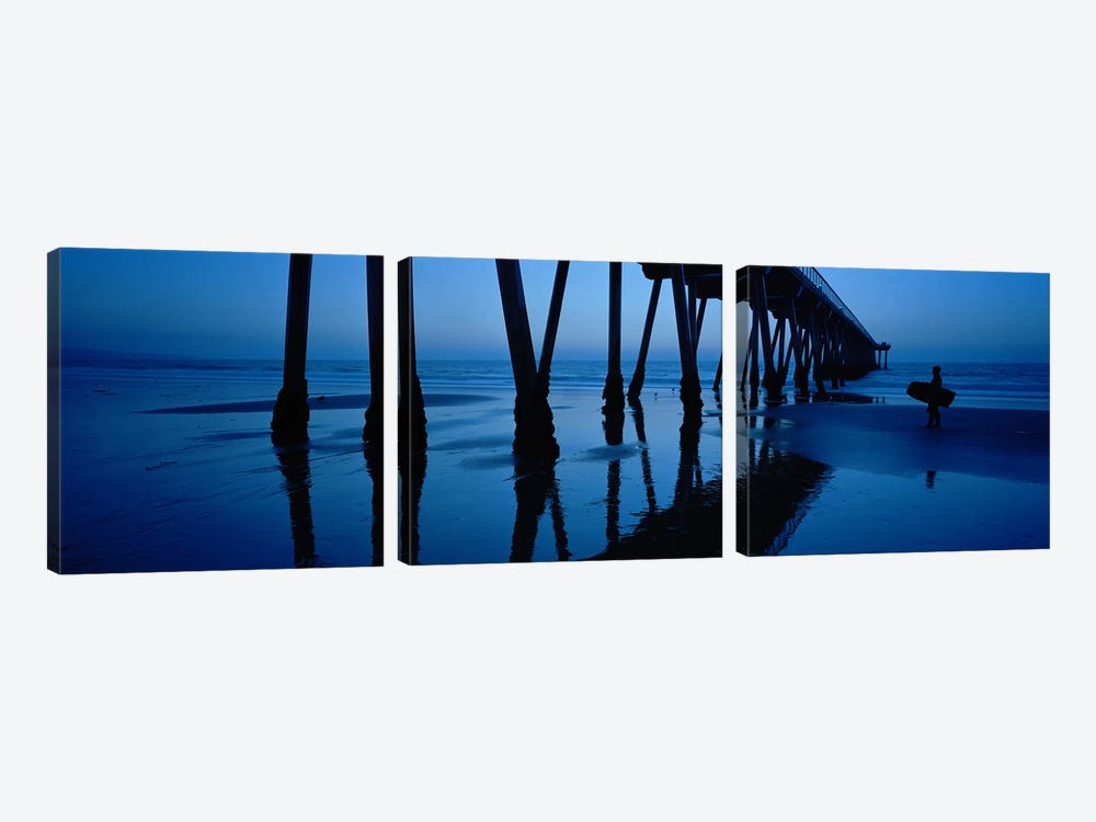 Hermosa Beach Pier At Dusk, Hermosa Beach, Los Angeles County, California, USA by Panoramic Images 3-piece Canvas Artwork