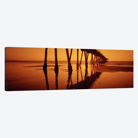 Silhouette of a pier at sunset, Hermosa Beach Pier, Hermosa Beach, California, USA Canvas Print #PIM6898} by Panoramic Images Art Print