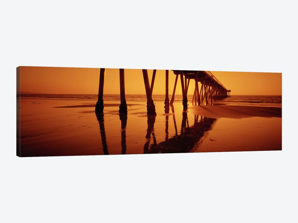 Silhouette of a pier at sunset, Hermosa Beach Pier, Hermosa Beach, California, USA by Panoramic Images 1-piece Canvas Art