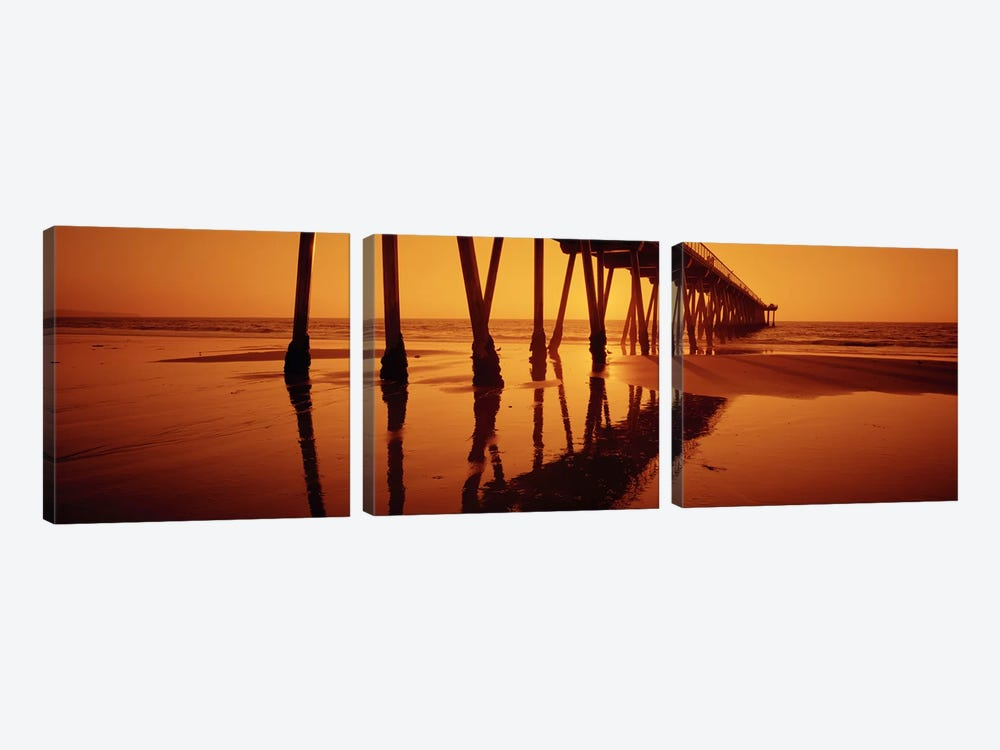 Silhouette of a pier at sunset, Hermosa Beach Pier, Hermosa Beach, California, USA by Panoramic Images 3-piece Canvas Wall Art